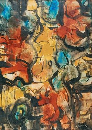 Alfred LENICA (1899-1977), Kompozycja żółta, l. 70 XX w.