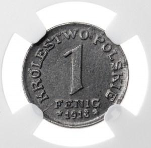 1 fenig, 1918, MS 63, niemieckie władze okupacyjne dla Królestwa Polskiego