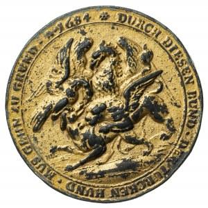 Koalicja antyturecka, 1684, stara kopia medalu, złocenie
