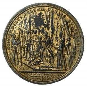 August III, medal koronacyjny 1734, stara kopia, złocenie