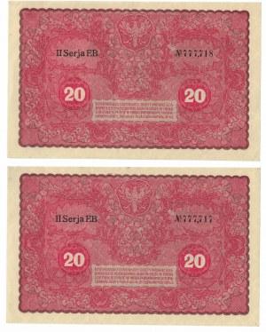 20 marek 1919, ciekawe numery, zestaw 2 banknotów