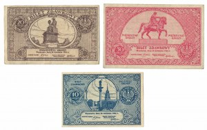 zestaw 3 biletów zdawkowych 1924 rok, 10, 20 i 50 groszy