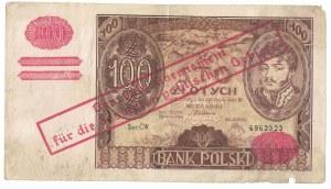 100 zł 1934, banknot przestemplowany po 1 września 1939