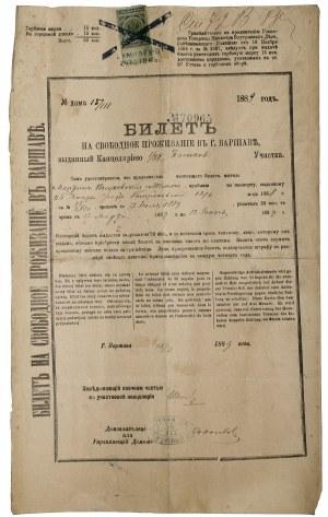 Bilet kwartalny na swobodne przebywanie w Warszawie 1889