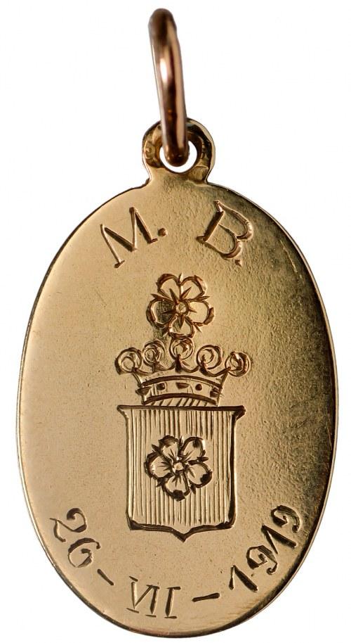 Polska, medalik chrzcielny w złocie 1919 - herb Poraj