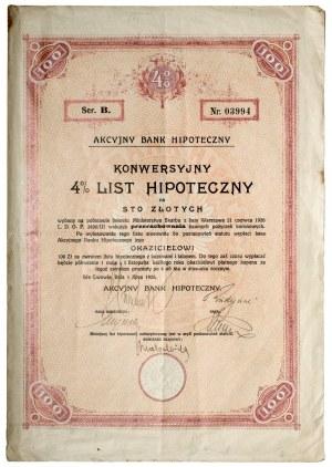 Akcyjny Bank Hipoteczny, List Konwersyjny pożyczki 4% 100 złotych 1926