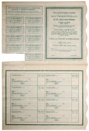 Warszawskie Towarzystwo Kopalń i Węgla i Zakładów Hutniczych 5 akcji na 500 zł 1929