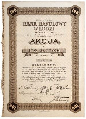 Bank Handlowy w Łodzi akcja 100 zł 1935