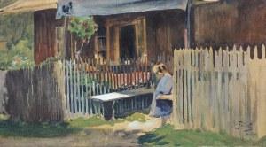 Fałat Julian, DZIEWCZYNKA PRZED CHATĄ, 1907