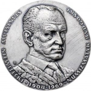 medal STANISŁAW NIEWITECKI 1904-1969 , 1980, srebro Ag, masa rzeczywista: 160 g, niski nakład 20 sztuk
