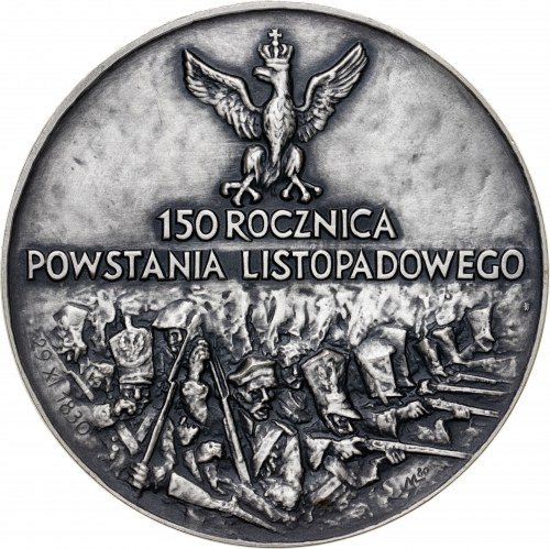 medal 150 ROCZNICA POWSTANIA LISTOPADOWEGO, medal wznowiony w 1983 roku (pierwotne bicie z 1980 roku nie zawierało wersji srebrnej), srebro Ag, masa rzeczywista: 185 g, średnica 70 mm, ekstremalnie niski nakład 6 sztuk