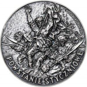 medal POWSTANIE STYCZNIOWE, medal wznowiony w 1983 roku (pierwotne bicie z 1981 roku zawierało 12 sztuk medali w srebrze), srebro Ag, masa rzeczywista: 186 g, nakład z 1983 roku: 5 sztuk