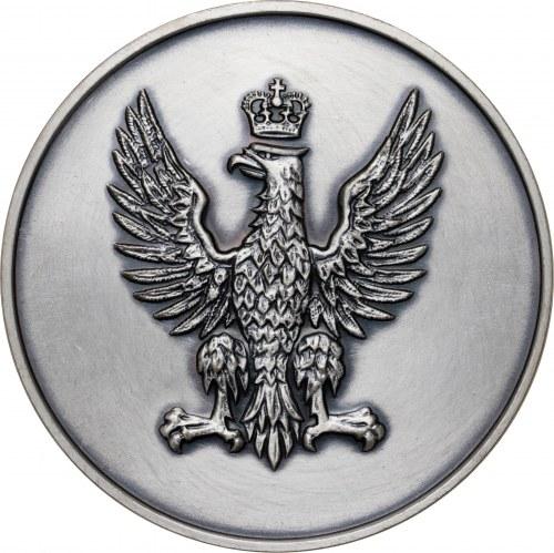 medal POWSTANIA ŚLĄSKIE - ZA POLSKI ŚLĄSK, medal wznowiony w 1983 roku (pierwotne bicie z 1982 roku zawierało 15 sztuk w srebrze), srebro Ag, masa rzeczywista: 187 g, nakład z 1983 roku: 5 sztuk