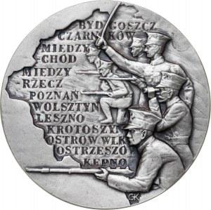 medal POWSTANIE WIELKOPOLSKIE, medal wznowiony w 1983 roku (pierwotne bicie z 1982 roku nie zawierało wersji srebrnej), srebro Ag, masa rzeczywista: 187 g, ekstremalnie niski nakład: tylko 5 sztuk