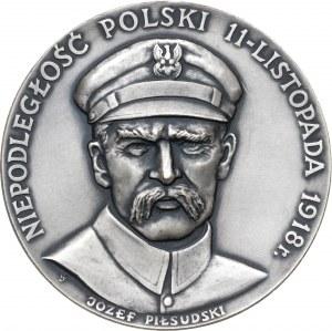 medal JÓZEF PIŁSUDSKI NIEPODLEGŁOŚĆ POLSKI, 1983, srebro Ag, masa rzeczywista: 185 g