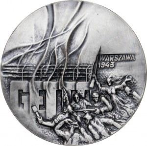 medal 40 ROCZNICA POWSTANIA W GETCIE WARSZAWSKIM, 1983, srebro Ag, masa rzeczywista: 160 g, nakład: tylko 17 sztuk