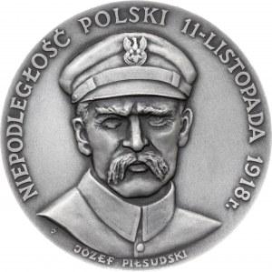 medal NIEPODLEGŁOŚĆ POLSKI, 1985, srebro Ag, masa rzeczywista: 137 g, nakład: 20 sztuk
