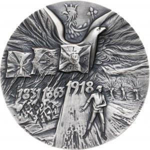 medal 70 ROCZNICA ODZYSKANIA NIEPODLEGŁOŚCI, 1988, srebro Ag, masa rzeczywista: 157 g, nakład: 30 sztuk
