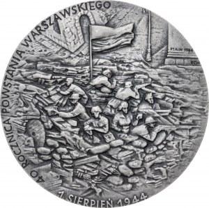 medal 40 ROCZNICA POWSTANIA WARSZAWSKIEGO, 1984, srebro Ag, masa rzeczywista: 151 g, ekstremalnie niski nakład: 7 egzemplarzy
