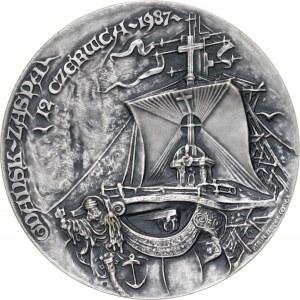 Medal JAN PAWEŁ II - GDAŃSK ZASPA, 1988, srebro Ag, masa rzeczywista: 184 g