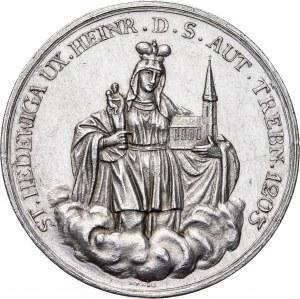 Trzebnica - Medal z okazji 600-lecia założenia klasztoru żeńskiego w Trzebnicy koło Wrocławia, 1803, srebro o masie 21,2 g