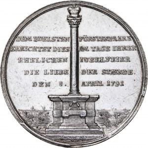 Śląsk, Księstwo wirtembersko-oleśnickie, medal, 1791 r., srebro, średnica: 43 mm, masa: 26,56 g, przepiękny stan zachowania