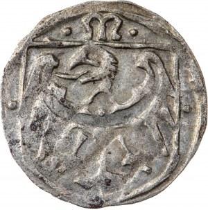 Śląsk, Księstwo Oleśnickie - Konrad X Biały (Młodszy) 1450-1492, halerz 1471-1490, Wołów, bardzo rzadki typ monety, R4
