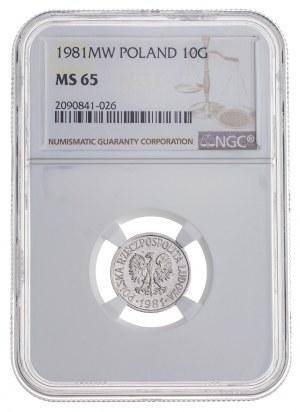 10 gr 1981, aluminium, MS 65