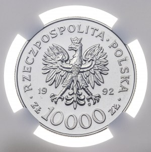 10 000 zł 1992, WŁADYSŁAW WARNEŃCZYK, POPIERSIE, PRÓBA NIKIEL, MAX NGC, ULTRA CAMEO