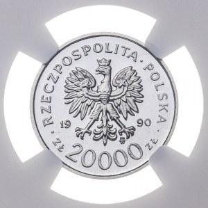 20 000 zł 1990, SOLIDARNOŚĆ 1980-1990, PRÓBA NIKIEL, tylko 1 moneta oceniona wyżej przez NGC