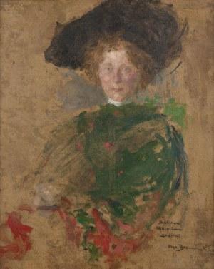 Olga Boznańska, Portret kobiety w kapeluszu (Aleksandra z Jasieńskich Łosiowa?), ok. 1900