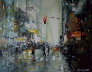 Arkadiusz Mężyński, New York in the rain, 2018