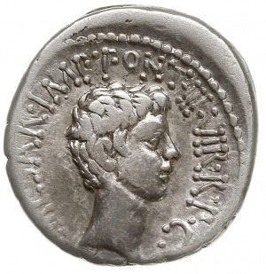 denar 41 pne, mennica ruchoma, Aw: Głowa Marka Antonius...