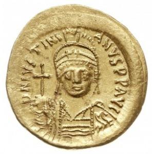 solidus, Konstantynopol, Aw: Popiersie cesarza na wpros...