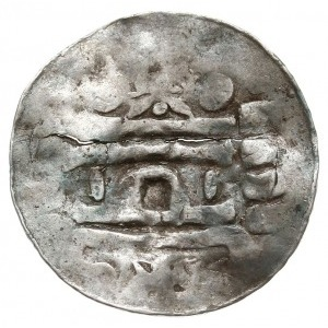 anonimowy denar typu kolońskiego, Aw: Portyk kościoła, ...