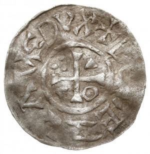 denar typu MOGILNO, Aw: Krzyż z ozdobnikami w kątach: k...