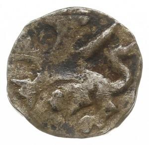 Słupsk, denar XIV/XV w., Aw: Trzy fale, Rw: Gryf kroczą...