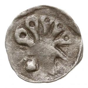 Uznam, denar XV w., Aw: Hełm z pióropuszem w lewo, Rw: ...
