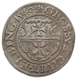grosz 1540, Elbląg, na awersie PRVSSI, na rewersie roze...