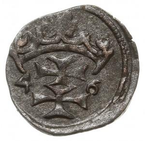 denar 1546, Gdańsk, odmiana z szerokimi krzyżami w herb...