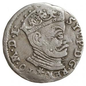 trojak 1581, Wilno, bardzo rzadki typ monety - z listki...