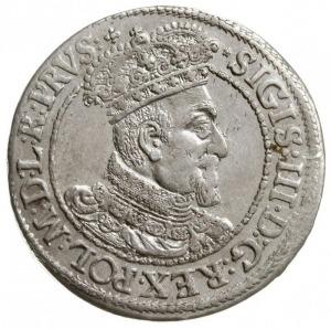 ort 1616, Gdańsk, mała głowa króla z kołnierzem, Shatal...