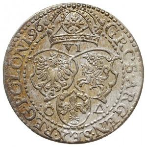 szóstak 1596, Malbork, odmiana z małą głową króla, subt...