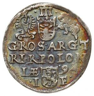 trojak 1594, Olkusz, na awersie znak mennicy kończy nap...