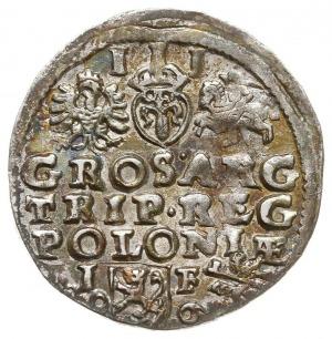 trojak 1596, Lublin, skrócona data po bokach herbu Lewa...