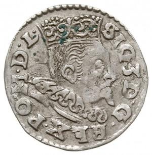 trojak 1596, Lublin, skrócona data po bokach znaku menn...