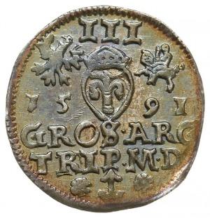 trojak 1591, Wilno, odmiana z rozetkami po bokach herbu...