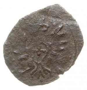 denar, 1613, Łobżenica, Aw: Orzeł, Rw: Herb Bróg i skró...