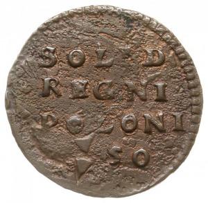 szeląg miedziany 1650, Wschowa, na awersie monogram kró...