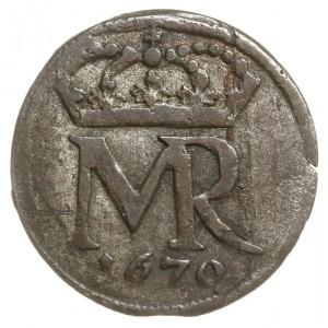 szeląg 1670, Gdańsk, większy monogram królewski, Tyszk....